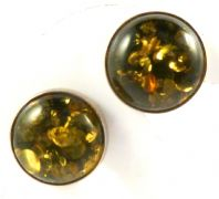 Sterling Silver And Green Baltic Amber Clip On Earrings.